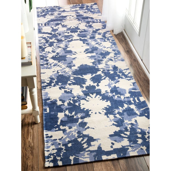 nuLOOM Flatweave Tie Dye Abstract Printed Splatter Vintage Cotton Blue Runner Rug (2'6 x 8')