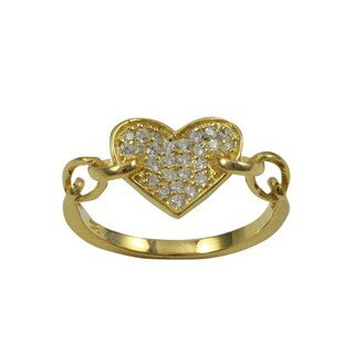 Gold Finish Sterling Silver Cubic Zirconia Heart Children's Ring