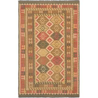 ecarpetgallery Kashkoli Kilim Beige and Pink Wool Kilim (6'5 x 9'11)