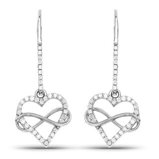 Malaika Sterling Silver 2/5ct TDW Diamond Heart Earrings (I-J, I2-I3)