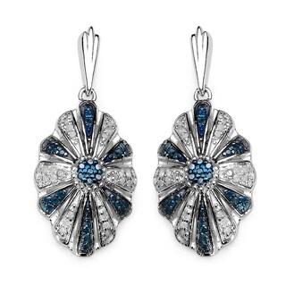 Olivia Leone Sterling Silver 1/2ct TDW Blue Diamond Vintage Drop Earrings (I-J, I2-I3)