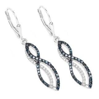 Malaika Sterling Silver 3/4ct TDW Blue Diamond Infinity Earrings