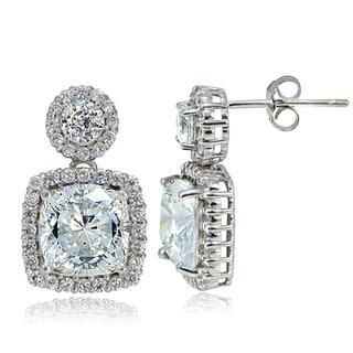 Icz Stonez Platinum Plated 5ct TGW 100 facet Cubic Zirconia Dangle Earrings