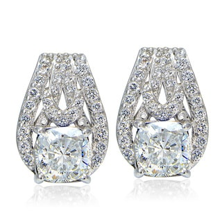 Icz Stonez Platinum Plated Sterling Silver 100 Facets Cubic Zirconia Cushion-Cut Earrings