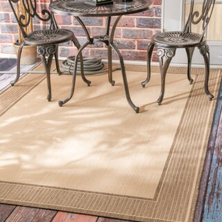 nuLOOM Two-Tone Border Indoor/ Outdoor Beige Porch Rug (8'6 x 13')