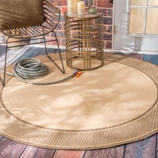 nuLOOM Two-Tone Border Indoor/ Outdoor Beige Porch Rug (6'3 Round)