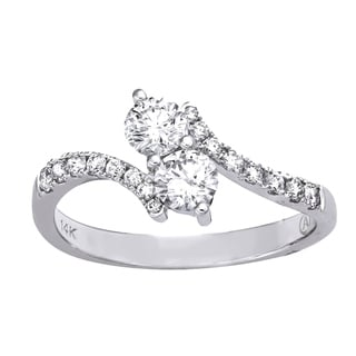 Beverly Hills Charm 14k White Gold 1/2ct TDW 2-Stone Diamond Ring (H-I, SI2-I1)