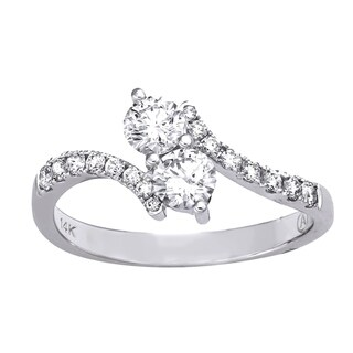 Beverly Hills Charm 14k White Gold 3/4ct TDW 2-Stone Diamond Ring (H-I, SI2-I1)
