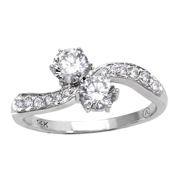 Beverly Hills Charm 14k White Gold 1ct TDW 2-Stone Diamond Ring (H-I, SI2-I1)