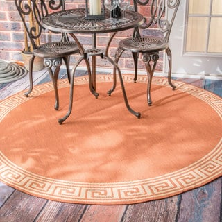 nuLOOM Indoor/ Outdoor Greek Key Brick Porch Rug (6'3 Round)