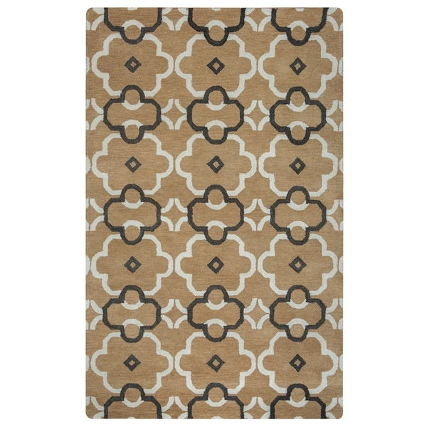 Rizzy Home Opus Collection Ornamental Brown Accent Rug (8' x 10'))