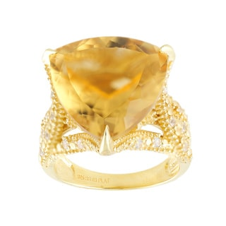 18k Yellow Gold Vermeil Over Silver Citrine and White Zircon Ring