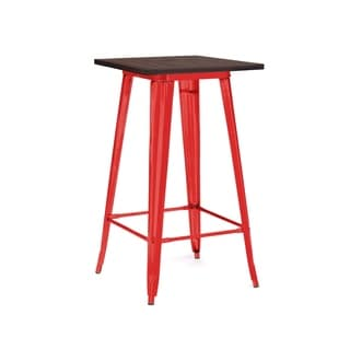 Amalfi Glossy Red and Elm Top Steel Bar Table