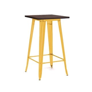 Amalfi Glossy Yellow and Elm Steel Bar Table