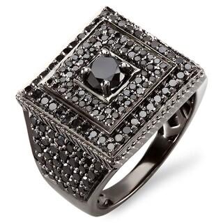 10k White Gold 4ct TDW Men's Black Diamond Ring