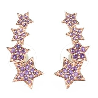 18k Rose Gold Vermeil Over Silver Amethyst Graduated Star Climber Earrings