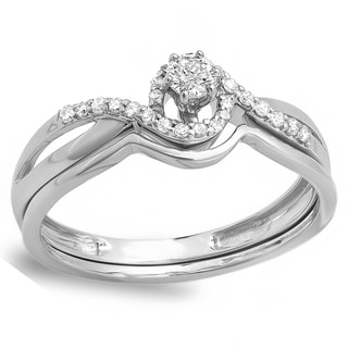 10k White Gold 1/4ct TDW Round Diamond Prmise Bridal Ring Set (H-I, I1-I2)