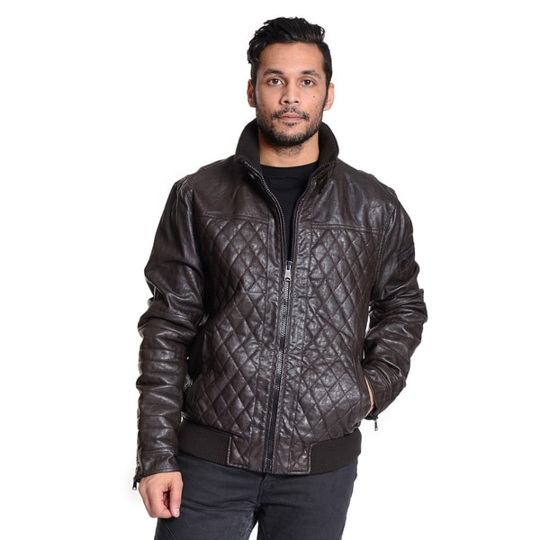 Excelled Men's Quilted Faux Leather Moto Jacket