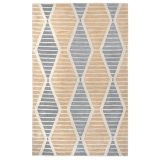 Rizzy Home Palmer Collection Beige Stripes Area Rug (9' x 12')