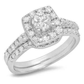 14k White Gold 1ct TDW Round-cut Diamond Bridal Halo Style Engagement Ring (H-I, I1-I2)