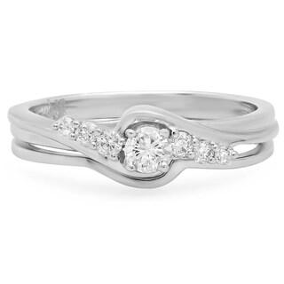 14k White Gold 1/3ct TDW Round Diamond Bridal Twist Engagement Ring (H-I, I1-I2)
