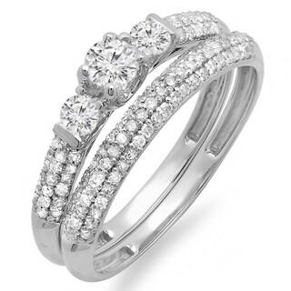 10k White Gold 7/8ct TDW Round Diamond 3-stone Bridal Ring (H-I ,I1-I2)