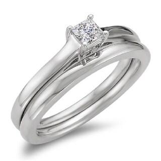 14k White Gold 1/3ctTDW Princess Diamond Bridal Solitaire Engagement Ring (H-I ,I1-I2)