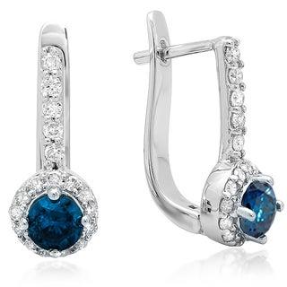 14k White Gold 1ct TDW Round Blue and White Diamond Fine Halo Hoop Earrings (H-I, I1-I2)