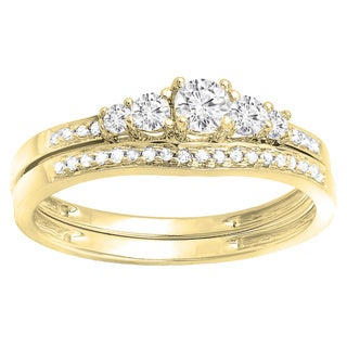 14k White Gold 1/2ct TDW Round Diamond 5-stone Bridal Engagement Ring (H-I, I1-I2)