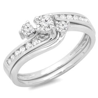 14k White Gold 1/2ct TDW Round Diamond Bridal Swirl Engagement Ring (H-I, I1-I2)