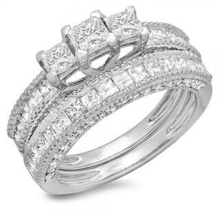 14k White Gold 2 1/3ct TDW Princess and Round Diamond Engagement Bridal 3-stone Ring (H-I, I1-I2)