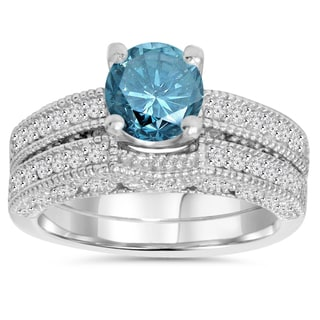 14K White Gold 1 1/2ct TDW Vintage Blue and White Diamond Vintage Engagement Wedding Ring Set (I-J,I2-I3)