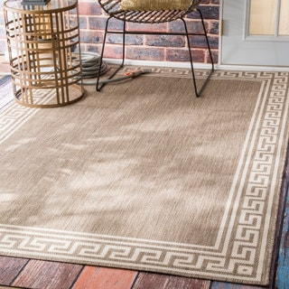 nuLOOM Indoor/ Outdoor Greek Key Taupe Porch Rug (6'3 x 9'2)