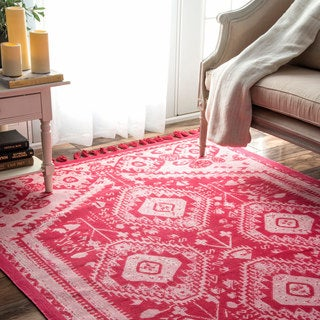 nuLOOM Flatweave Tribal Diamond Dragon Cotton Tassel Pink Rug (5' x 7')