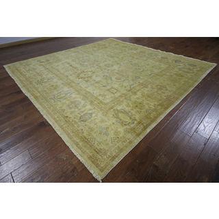 H9525 Ivory Wool Oushak Square Peshawar Chobi Oriental Hand-knotted Area Rug (10' x 10')