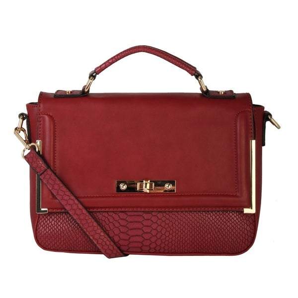 Diophy Faux Leather Structured Snakeskin Texture Turn-lock Crossbody Satchel