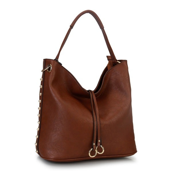 Diophy Studded Hobo Handbag