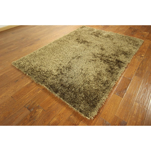 HT178 Gold/ Blonde Wool Shag Oriental Hand-knotted Area Rug (5' x 7')