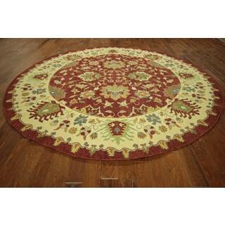 HT613 Red and Ivory Wool Soumak Round Oriental Rug (10' Round)