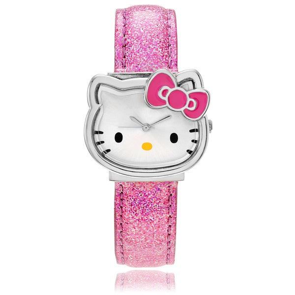Hello Kitty Women's Hello Kitty Case Pink Glitter Band Watch