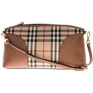 Burberry Honey Horseferry Check and Leather Clutch Bag