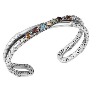 18K Gold Sterling Silver Multi-Gemstone 'Cawi' Cuff Bracelet (Indonesia)