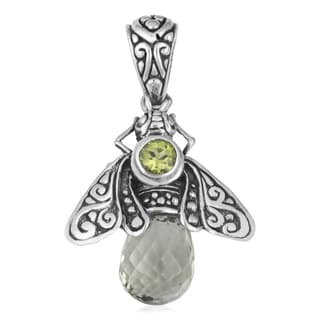 Sterling Silver Prasiolite Peridot 'Queen Bee' Cawi Pendant (Indonesia)
