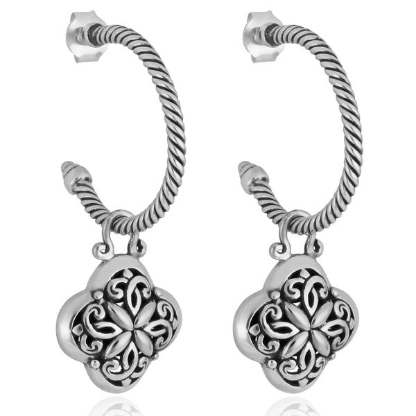 Sterling Silver 'Balinese Floral' Half Hoop Dangle Earrings (Indonesia)
