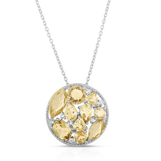 Dolce Giavonna Sterling Silver Citrine and White Topaz Cluster Necklace