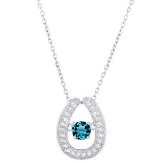 Dolce Giavonna Sterling Silver London Blue Topaz and White Topaz Horseshoe Necklace