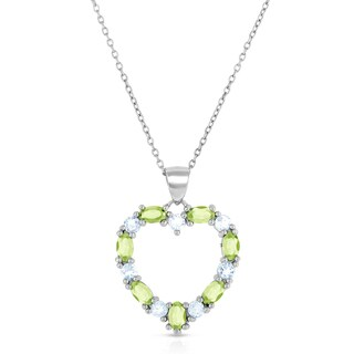 Dolce Giavonna Sterling Silver Peridot and Blue Topaz Heart Necklace