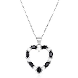 Dolce Giavonna Sterling Silver Black Spinel and White Topaz Heart Necklace