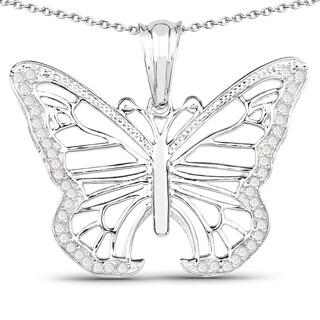 Malaika Sterling Silver 1/3ct TDW Diamond Butterfly Pendant (I-J, I2-I3)
