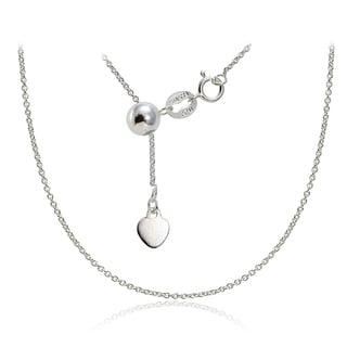 Mondevio Silver 1.5 mm Rolo Adjustable Bolo Chain Necklace